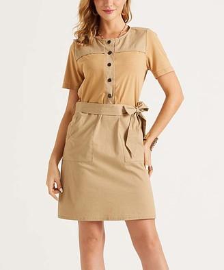 Suzanne Betro Dresses Women's Casual Dresses 101KHAKI - Khaki Tie-Waist Button-Front Shirt Dress - Women & Plus