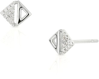 Bony Levy 18K White Gold Diamond & Triangle Cutout Earrings - 0.06 ctw