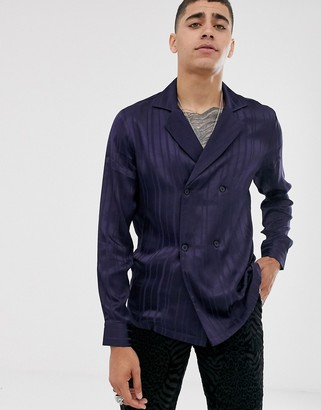 Asos Design DESIGN double breasted satin shirt in navy