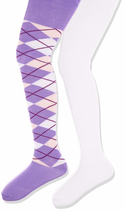 Playshoes Girl's elastisch Kariert und Uni mit Komfortbund Tights