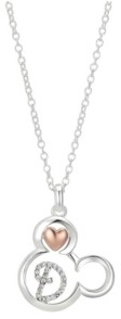 Disney Two-Tone Mickey Mouse Initial Pendant Necklace in Fine Silver Plate