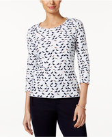 Charter Club Petite Cotton Bird-Print Top, Only at Macy's