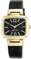 Nine West Goldtone Black Leather Strap Watch, NW1840BKBK