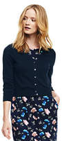 Lands' End Women's 3/4 Sleeve Supima Dress Cardigan Sweater-Radiant Navy Large Floral
