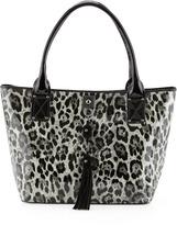 Moschino Leopard-Print Patent Tassel Tote, Gray