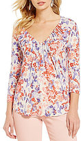 Lucky Brand Floral Print 3/4 Sleeve Pintuck Knit Top