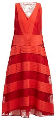 Valentino Panelled-lace V-neck Dress - Red