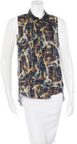 Theyskens' Theory Silk Abstract Print Top