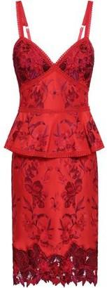 Marchesa Embroidered Ponte Peplum Dress