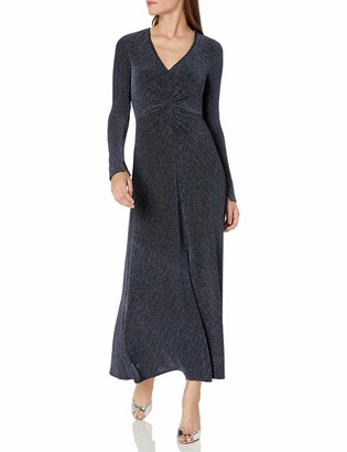 Donna Morgan Women's Stretch Metallic Knit Ruched Front Midi Dress