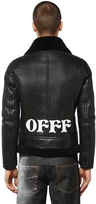 Off-White Off White Printed Shearling Jacket