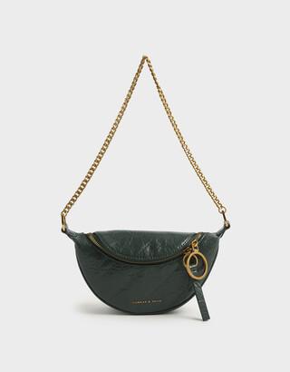 Charles & Keith Wrinkled Effect Ring Zip Tassel Crossbody Bag