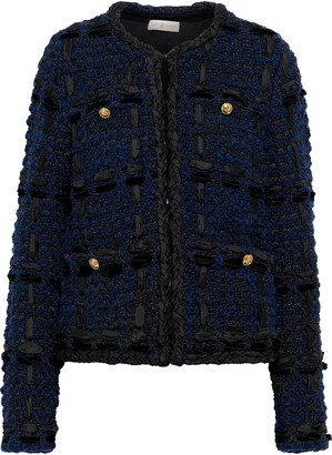 Tory Burch Satin And Velvet-trimmed Metallic Wool-blend Tweed Jacket