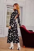 Nasty Gal Womens Dot With Me High Neck Midi Dress - black - 4