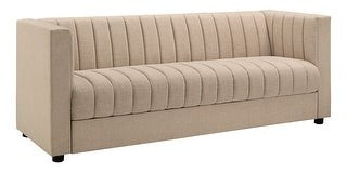 Inspire Q Dorinda Beige Linen Channel Tufted Tuxedo Sofa by Modern
