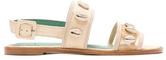 Blue Bird Shoes Buzios straw flat sandals