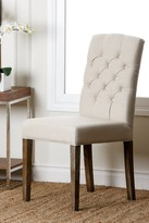 Cream Linen Tufted Dining Chair
