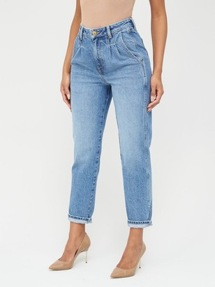 Very High Waisted Pleat Top Mom Jeans- Mid Wash