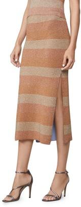 Herve Leger Double Faced Lurex Striped Skirt