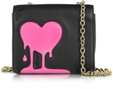 Love Moschino Melting Love Black & Pink Eco Leather Crossbody Bag