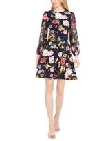 Vince Camuto Petite Floral-Print Fit & Flare Dress