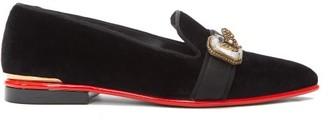 Alexander McQueen Brooch-embellished Velvet Pumps - Womens - Black