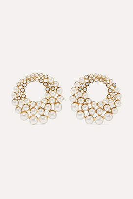 Jennifer Behr Paola Gold-tone Swarovski Pearl Clip Earrings - White
