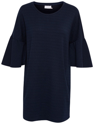 Kaffe Navy Tunic With Fluted Sleeves Milky Dress - X-SMALL - Blue