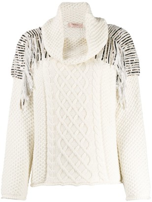 Twin-Set Sequin-Embellished Cable-Knit Jumper