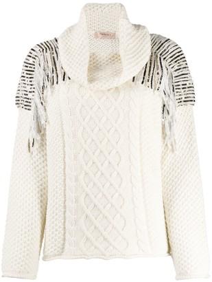 Twin-Set sequin-embellished cable-knit jumper