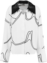 J.W.Anderson Leather-trimmed printed crepe shirt