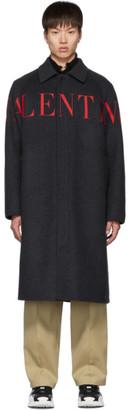 Valentino Grey Wool Logo Coat