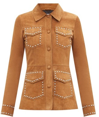 Stand Studio Reid Studded Suede Jacket - Tan