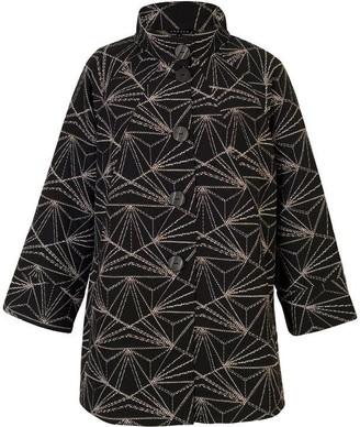 Chesca Stand Collar Geometric Jacquard Coat