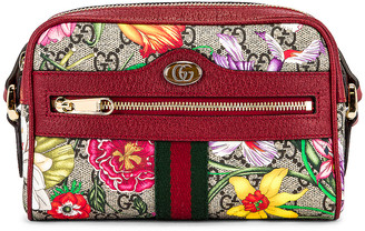 Gucci Ophidia GG Flora Crossbody Bag in Beige Ebony & Red | FWRD