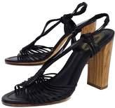 Elie Tahari Black Woven Leather Sandal Heels