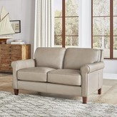 """Thumbnail for your product : Winston Porter Josette 63"""" Genuine Leather Rolled Arm Loveseat"""