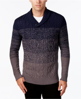 Retrofit Men's Ombré Cable-Knit Shawl-Collar Sweater