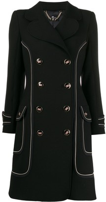 Elisabetta Franchi contrast piping double-breasted coat