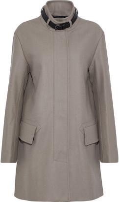 Belstaff Moryha Leather-trimmed Wool-blend Coat