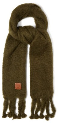 Loewe Anagram-patch Oversized Mohair-blend Scarf - Green