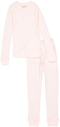 Rene Rofe Girl Girls' Thermal Bottoms PINK - Pink Waffle-Knit Thermal Set - Toddler & Girls