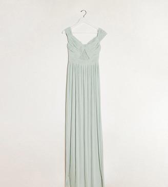 Asos Tall ASOS DESIGN Tall premium lace and pleat bardot maxi dress in sage