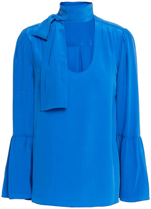 MICHAEL Michael Kors Pussy-bow Washed-silk Blouse