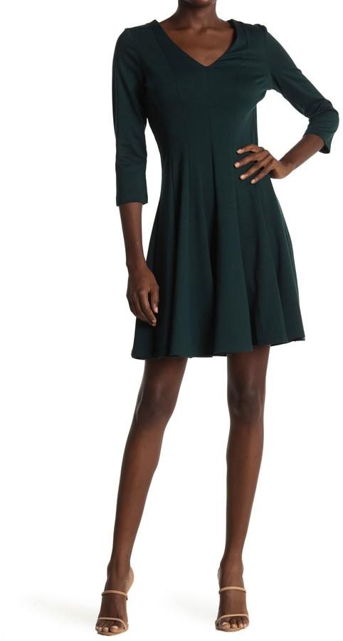 Gabby Skye V-Neck 3/4 Length Sleeve Solid Dress