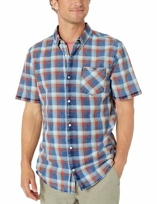 Buffalo David Bitton Men's Short Sleeve Washed Indigo Plaid Shirt