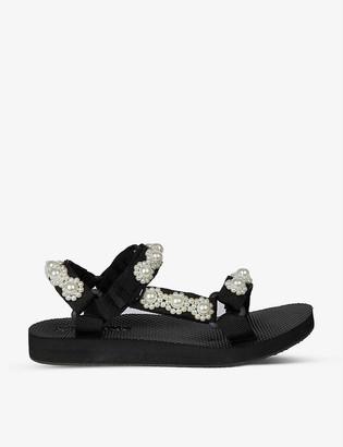 Arizona Love Trekky Fun faux pearl-embellished woven sandals