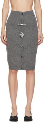 Miu Miu Grey Crystal Brooches Miniskirt