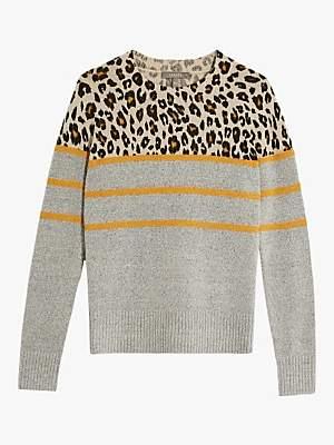 Oasis Ariana Animal Print Jumper, Mid Grey