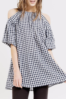 Blu Pepper Check Cold Shoulder Tunic